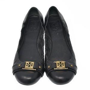 *Tory Burch Sz 8M Black Leather Slip On Comfort
